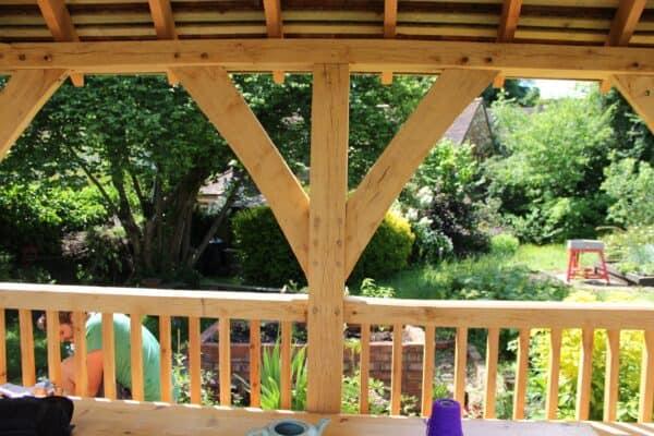 Arden oak framed gazebo roof support 2
