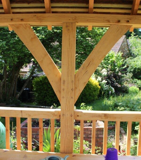 Arden oak framed gazebo roof support