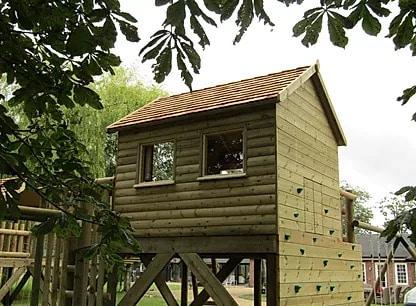 Tree house with climbing wall